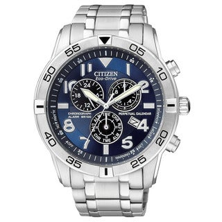 Citizen Men's Stainless Steel Eco-Drive Chronograph Watch with Perpetual Calendar
