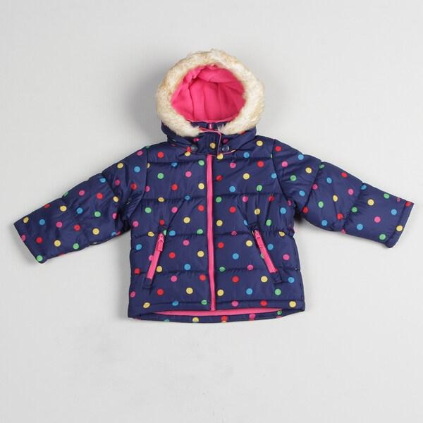 Carters Girl's Blue Polka Dot Bubble Jacket