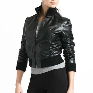Women's Buffalo Leather Bomber Jacket