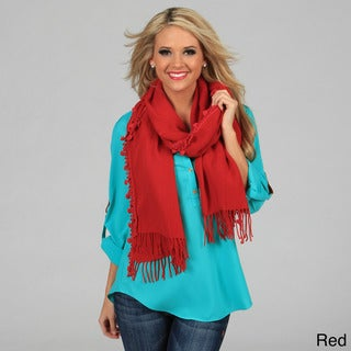 Cashmere Showroom 'I Heart You' Heart Pom-pom Scarf