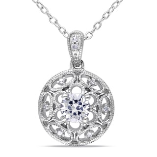 Miadora Sterling Silver White Sapphire and Diamond Necklace (G-H, I1-I2)