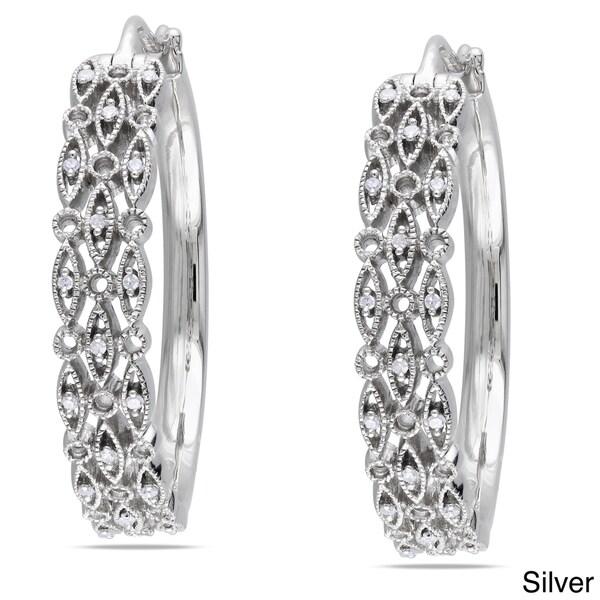 Haylee Jewels Sterling Silver 1/8ct TDW Diamond Hoop Earrings (G-H, I1-I2)