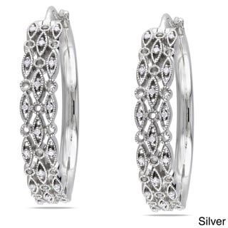 Miadora Sterling Silver 1/8ct TDW Diamond Hoop Earrings (G-H, I1-I2)