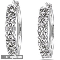 M by Miadora Sterling Silver 1/8ct TDW Diamond Hoop Earrings (G-H, I1-I2)