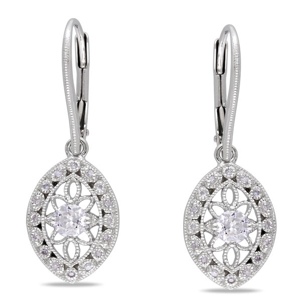 Miadora Sterling Silver White Sapphire and Diamond Earrings (G-H, I1-I2)
