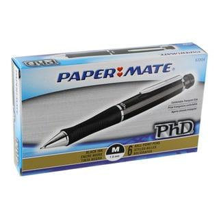 Papermate PhD Medium Point 1.0mm Black Barrel Ballpoint Pens (Set of 6)