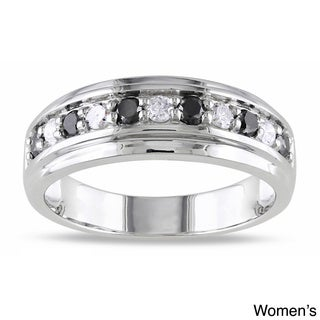 Miadora 10k White Gold 1/2ct TDW His and Her's Black and White Diamond Ring