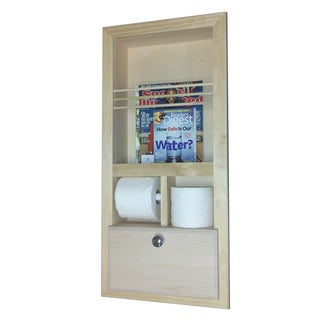 In the Wall Magazine Rack with Double Toilet Paper and Storage Cubby
