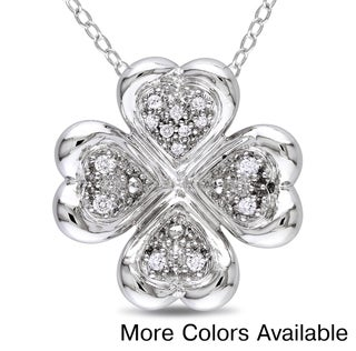 Miadora Sterling Silver 1/10ct TDW Diamond Hearts Necklace (H-I, I2-I3)
