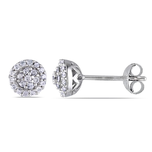Haylee Jewels Sterling Silver 1/4ct TDW Diamond Halo Stud Earrings (H-I, I2-I3)