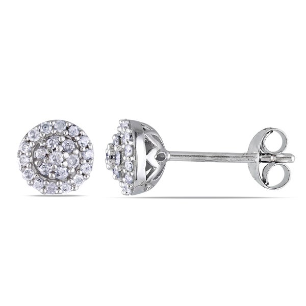 Miadora Sterling Silver 1/4ct TDW Diamond Halo Stud Earrings (H-I, I2-I3)