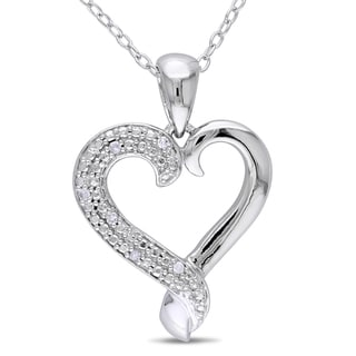 M by Miadora Sterling Silver Diamond Heart Necklace (H-I, I2-I3)