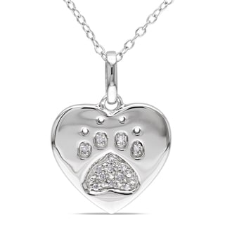 Haylee Jewels Sterling Silver Diamond Dog Lover's Necklace (H-I, I2-I3)