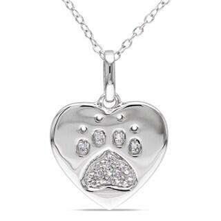 M by Miadora Sterling Silver Diamond Dog Lover's Necklace (H-I, I2-I3)