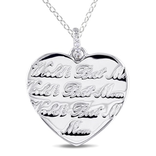 Haylee Jewels Sterling Silver Diamond 'World's Best Mom' Necklace (H-I, I2-I3)