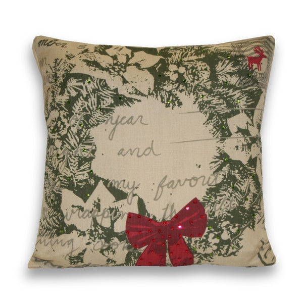 Wreath Postcard 18x18-inch Decorative Pillow