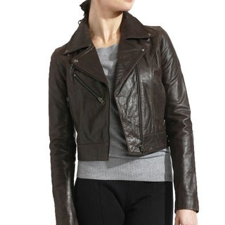 Tanners Avenue Women's Premium Buffalo Distressed Brown Leather Biker Jacket