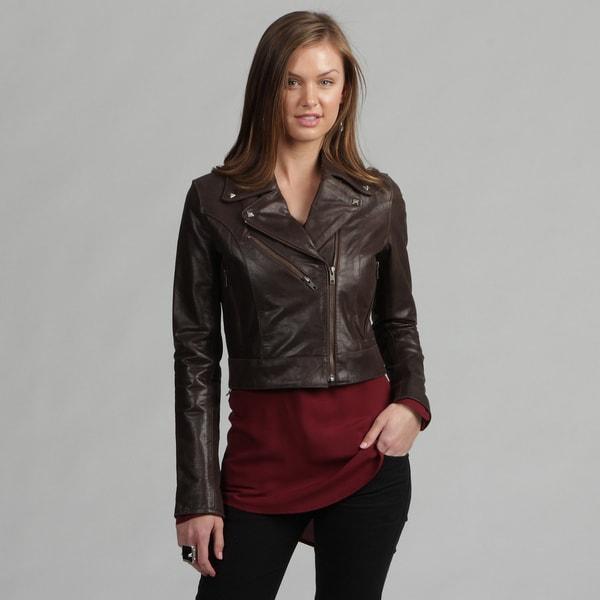 Tanners Avenue Women's Premium Buffalo Distressed Brown Leather Biker Jacket