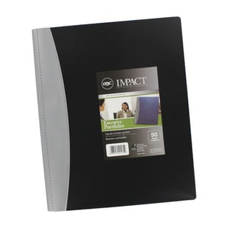 GBC Executive 50 Sheet Capacity Black Letter Size Portfolios (Pack of 12)