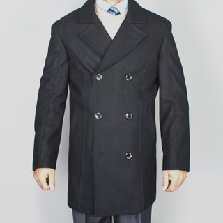 Mantoni Men's Black Wool Double Breasted Peacoat