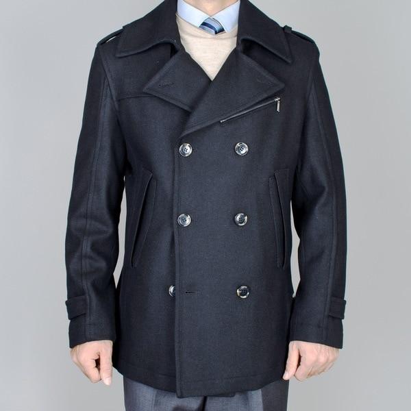 Men's Short Black Wool Double Breasted Peacoat
