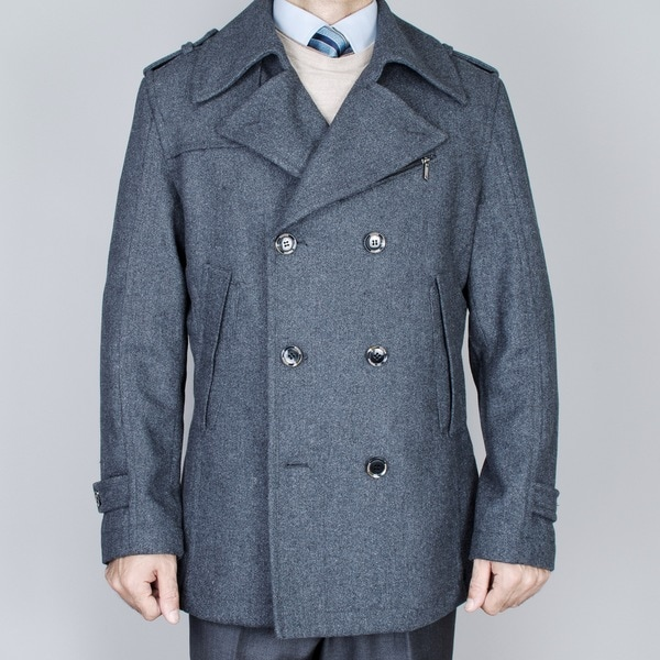 Men's Small Charcoal Grey Double Breasted Peacoat