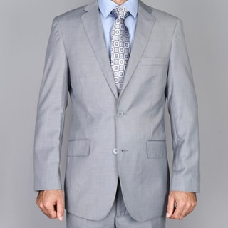 Men's Textured Light Grey 2-button Slim-fit Suit