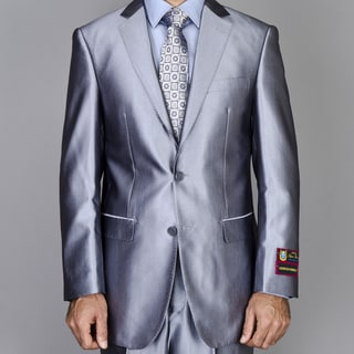 Men's Silver Grey Shiny 2-Button Suit