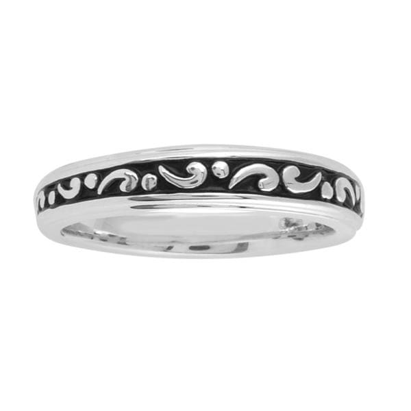 Bridal Symphony Sterling Silver Engraved Black Antiqued Ring