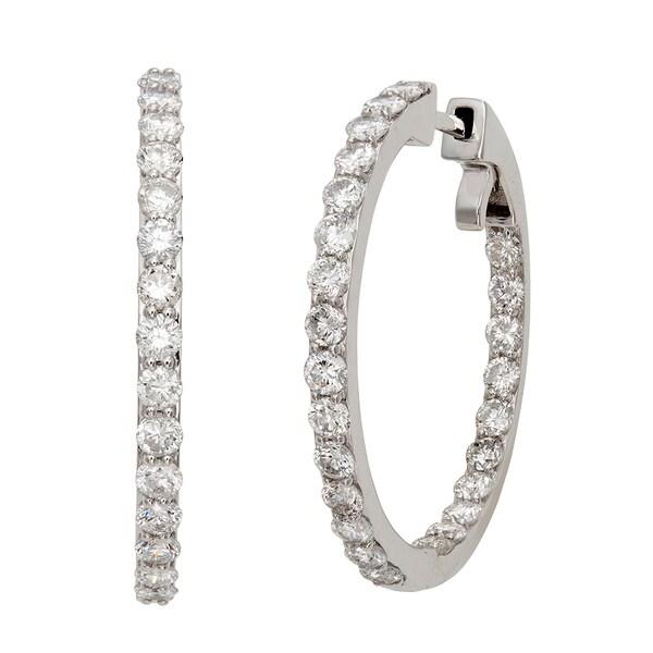 14k White Gold 3 3/8ct TDW Diamond Hoop Earrings (G-H, I2)