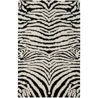 Safavieh Handmade Zebra Ivory/ Black New Zealand Wool Rug (5'x 8')