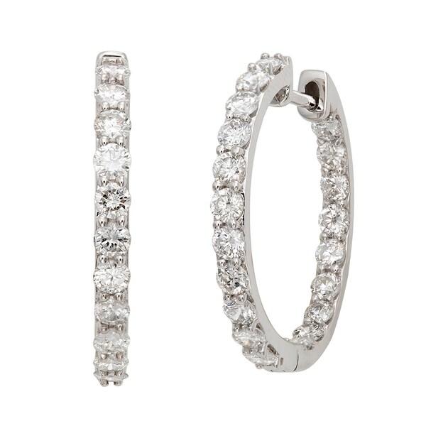 14k White Gold 2ct TDW Diamond Hoop Earrings (G-H, I2)
