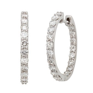 14k White Gold 2ct TDW Diamond Hoop Earrings (G-H, I2)