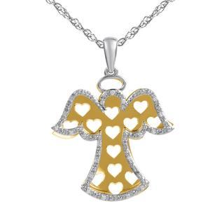 Bridal Symphony Sterling Silver/ 10k Yellow Gold 1/10ct TDW Diamond Angel Cut-out Pendant (I-J, I2-I3)