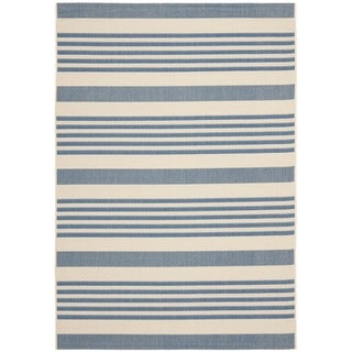 Safavieh Beige/ Blue Indoor Outdoor Rug