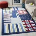 Safavieh Handmade Children's Matrix Blue New Zealand Wool Rug (3' x 5')