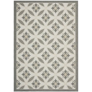 Safavieh Light Grey/ Anthracite Grey Indoor Outdoor Rug