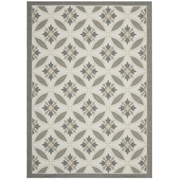 Safavieh Light Grey/ Anthracite Grey Indoor Outdoor Rug