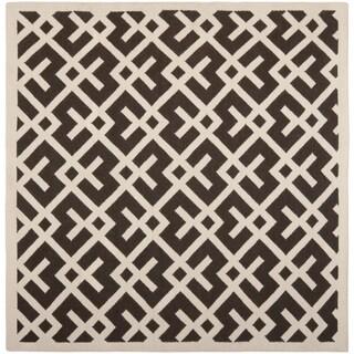 Safavieh Moroccan Reversible Dhurrie Pink/ Ivory Wool Rug (6' Square)