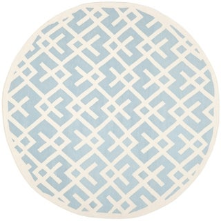 Safavieh Moroccan Light Blue/ Ivory Dhurrie Wool Rug (8' Round)