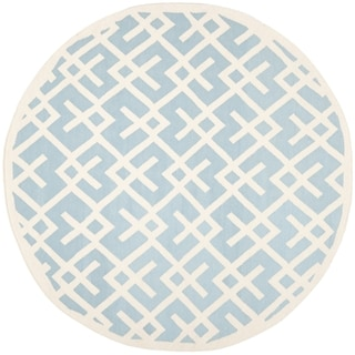 Safavieh Moroccan Light Blue/ Ivory Dhurrie Wool Rug (8' Round)