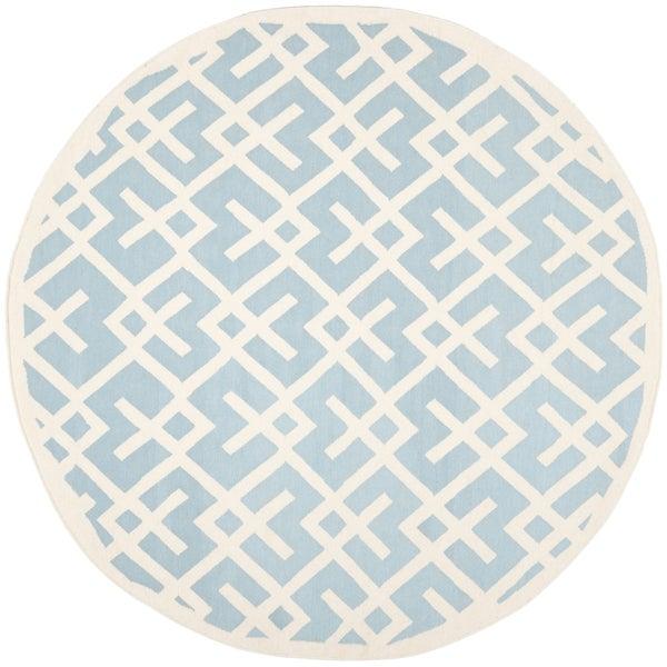 Safavieh Moroccan Light Blue/ Ivory Reversible Dhurrie Wool Rug (8' Round)