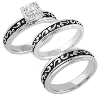 Sterling Silver 1/10ct TDW Diamond His and Hers Bridal-style Ring Set (I-J, I2-I3)