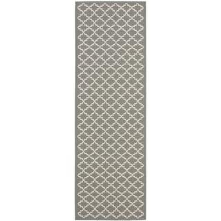 Safavieh Anthracite Grey/ Beige Indoor Outdoor Rug (2'2 x 14')