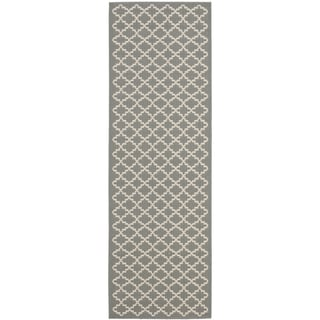Safavieh Anthracite Grey/ Beige Indoor Outdoor Rug (2'2 x 12')