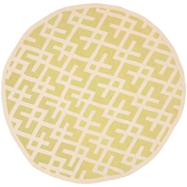 Safavieh Moroccan Light Green/ Ivory Reversible Dhurrie Wool Rug (8' Round)
