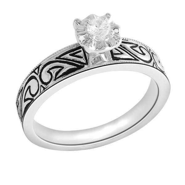 Bridal Symphony Sterling Silver 1/10ct Black Antique Diamond Ring (I-J, I-2-I3)