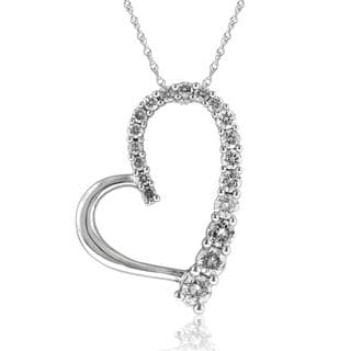 14k White Gold 1/2ct TDW Diamond Journey Heart Pendant (I-J, I1-I2)