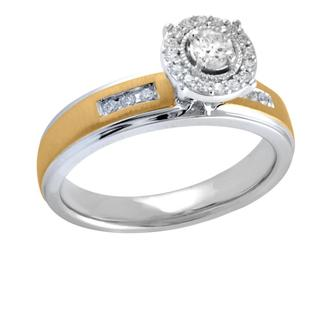 Sterling Silver 1/4ct Two-tone Diamond Ring (I-J, I2-I3) (Size 7)