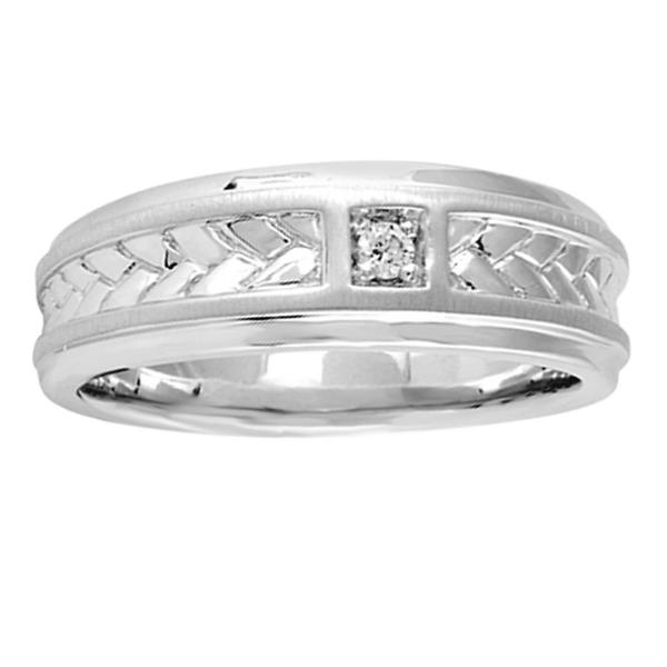 Bridal Symphony Sterling Silver Men's Diamond Accent Wedding Band (I-J, I2-I3)